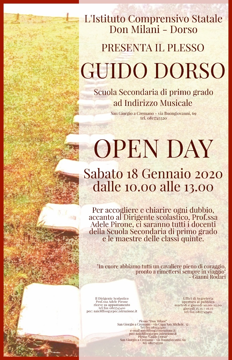 OPEN DAY GUIDO DORSO